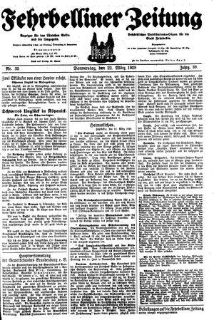 Fehrbelliner Zeitung vom 22.03.1928