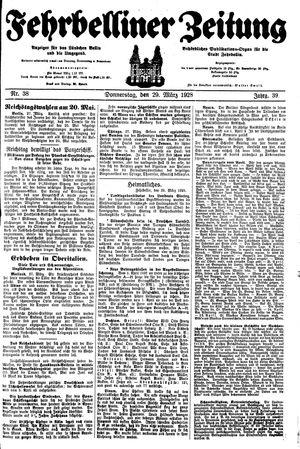 Fehrbelliner Zeitung vom 29.03.1928