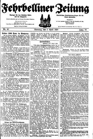 Fehrbelliner Zeitung vom 03.04.1928