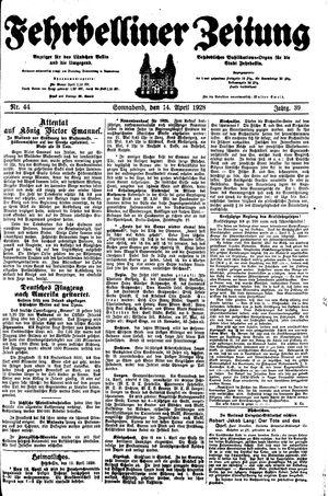 Fehrbelliner Zeitung vom 14.04.1928