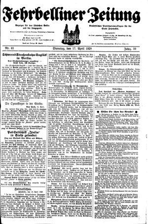 Fehrbelliner Zeitung vom 17.04.1928