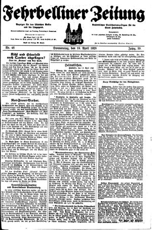 Fehrbelliner Zeitung vom 19.04.1928