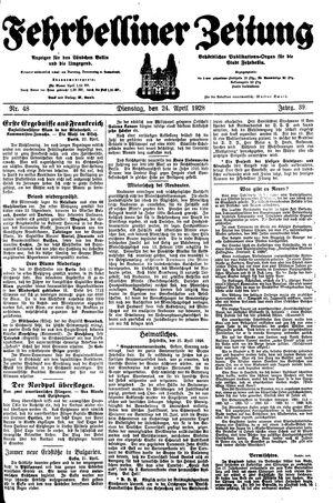 Fehrbelliner Zeitung vom 24.04.1928