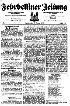 Fehrbelliner Zeitung vom 07.01.1930