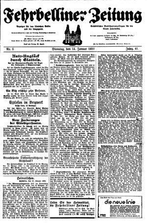 Fehrbelliner Zeitung vom 14.01.1930