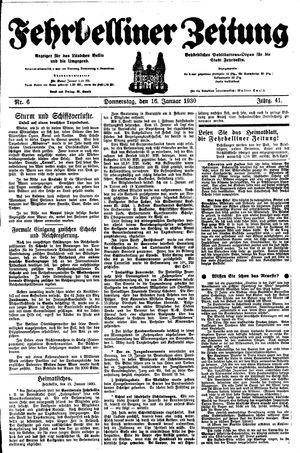 Fehrbelliner Zeitung vom 16.01.1930