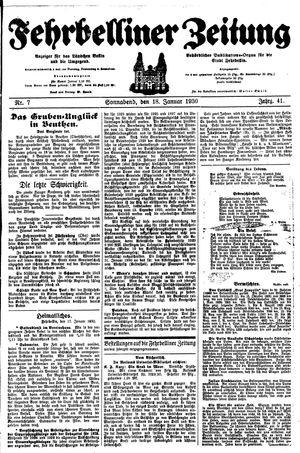 Fehrbelliner Zeitung vom 18.01.1930