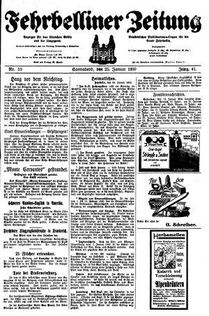 Fehrbelliner Zeitung vom 25.01.1930