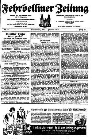 Fehrbelliner Zeitung vom 01.02.1930