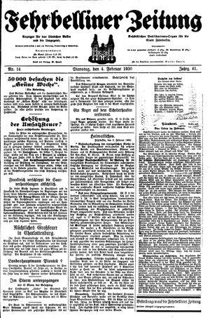 Fehrbelliner Zeitung vom 04.02.1930