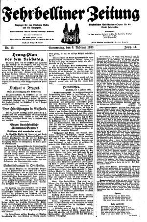 Fehrbelliner Zeitung vom 06.02.1930