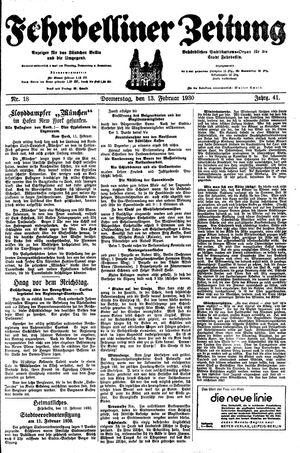 Fehrbelliner Zeitung vom 13.02.1930