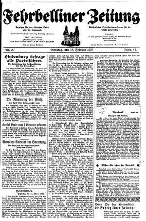 Fehrbelliner Zeitung vom 18.02.1930