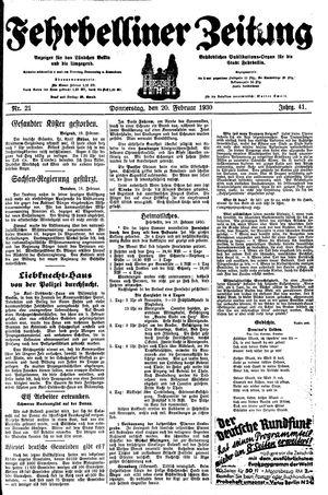 Fehrbelliner Zeitung vom 20.02.1930