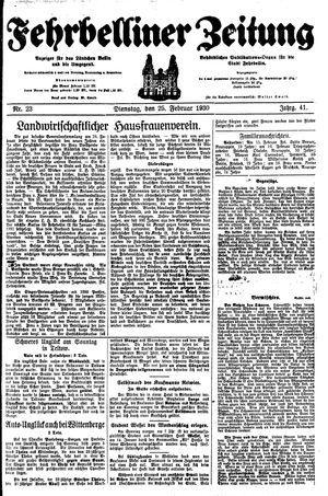 Fehrbelliner Zeitung vom 25.02.1930