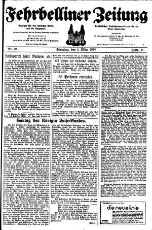 Fehrbelliner Zeitung vom 04.03.1930