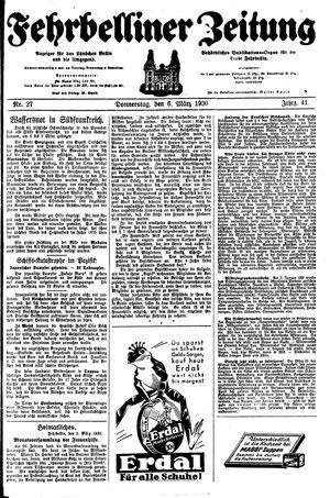 Fehrbelliner Zeitung vom 06.03.1930