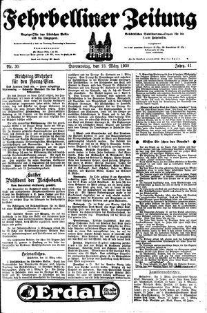 Fehrbelliner Zeitung vom 13.03.1930
