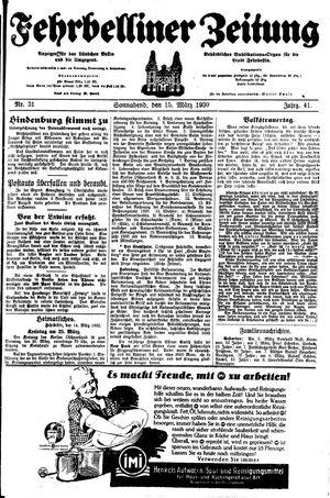 Fehrbelliner Zeitung vom 15.03.1930