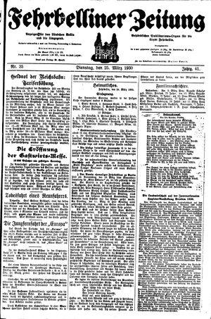 Fehrbelliner Zeitung vom 25.03.1930
