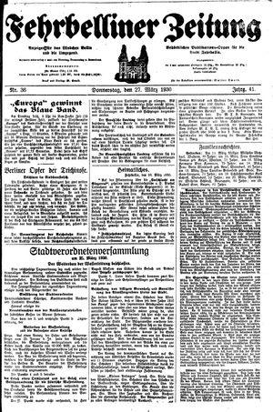 Fehrbelliner Zeitung vom 27.03.1930