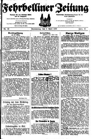 Fehrbelliner Zeitung vom 03.04.1930
