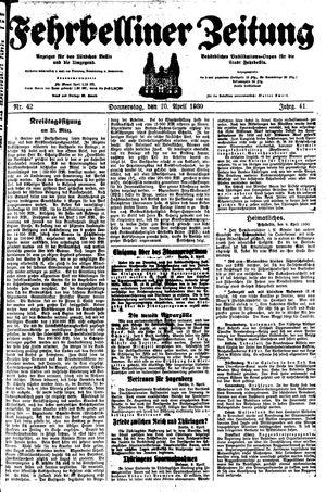 Fehrbelliner Zeitung vom 10.04.1930