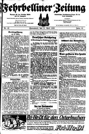 Fehrbelliner Zeitung vom 12.04.1930