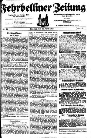 Fehrbelliner Zeitung on Apr 15, 1930