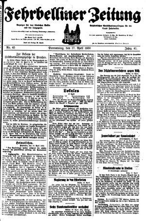 Fehrbelliner Zeitung vom 17.04.1930