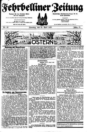 Fehrbelliner Zeitung vom 20.04.1930