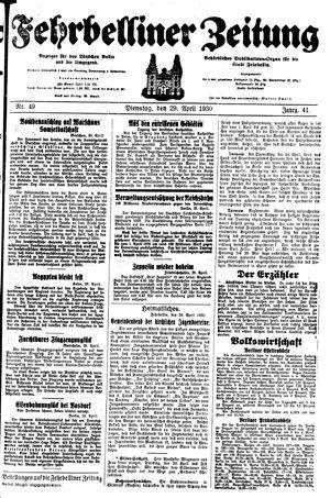 Fehrbelliner Zeitung vom 29.04.1930