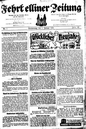 Fehrbelliner Zeitung vom 01.01.1931