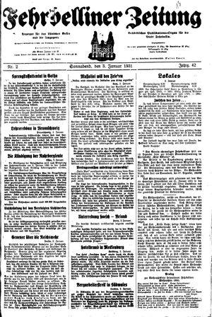 Fehrbelliner Zeitung vom 03.01.1931