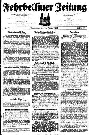 Fehrbelliner Zeitung vom 15.01.1931