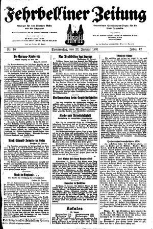 Fehrbelliner Zeitung vom 22.01.1931