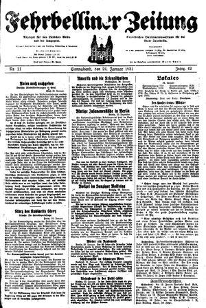 Fehrbelliner Zeitung vom 24.01.1931