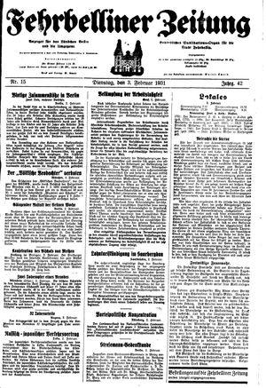 Fehrbelliner Zeitung vom 03.02.1931