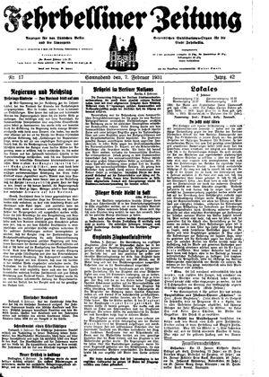 Fehrbelliner Zeitung vom 07.02.1931