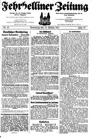 Fehrbelliner Zeitung vom 12.02.1931
