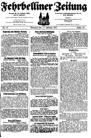 Fehrbelliner Zeitung vom 17.02.1931
