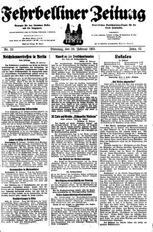 Fehrbelliner Zeitung vom 24.02.1931