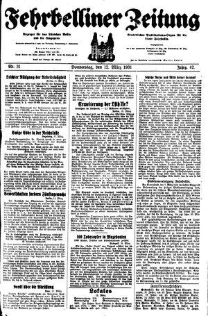 Fehrbelliner Zeitung vom 12.03.1931