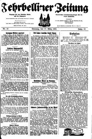Fehrbelliner Zeitung vom 17.03.1931