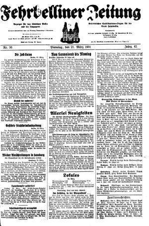 Fehrbelliner Zeitung vom 24.03.1931
