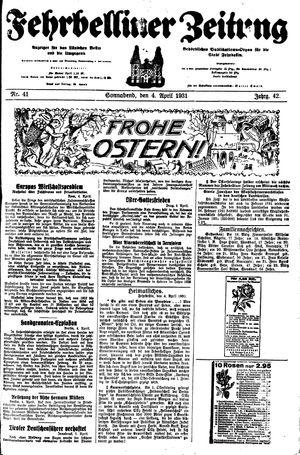 Fehrbelliner Zeitung vom 04.04.1931