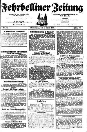 Fehrbelliner Zeitung vom 09.04.1931