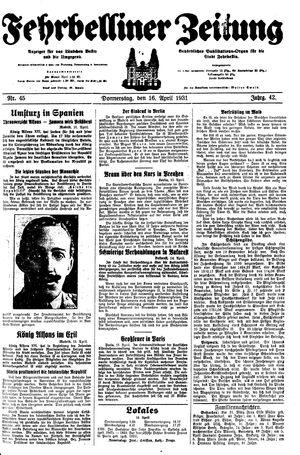 Fehrbelliner Zeitung vom 16.04.1931