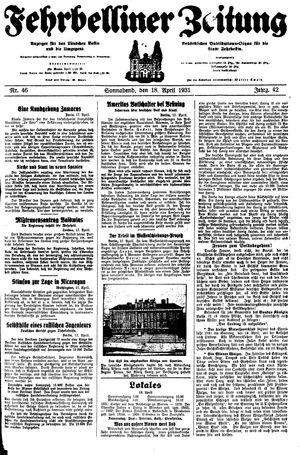 Fehrbelliner Zeitung vom 18.04.1931