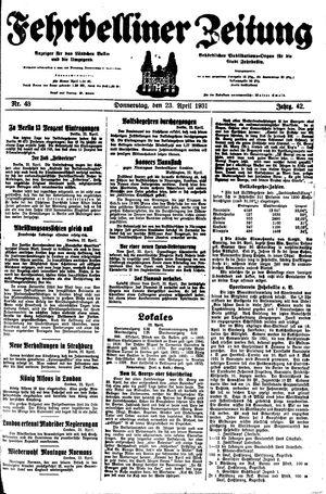 Fehrbelliner Zeitung vom 23.04.1931
